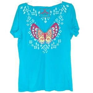 Johnny Was Embroidered Butterfly Shirt - Large
